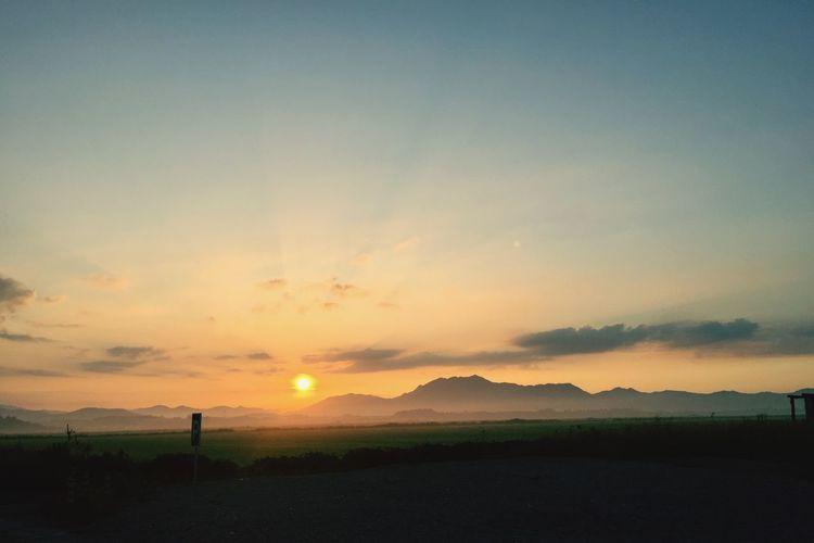 Sunrise before takeoff