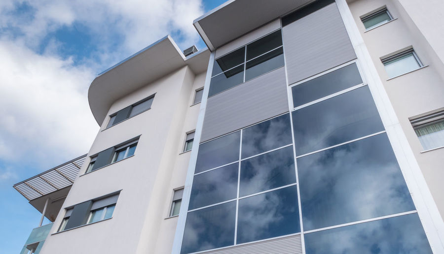Italy Apartment Architectural Architecture Background Balconies Blue Building Buildings Business Clouds Condominium Construction Contemporary Estate Exterior Façade Glass High Home House Italian Luxury Modern New Property Real RENT Residence Residential  Sky Style Tall Terraces Urban View White Windows