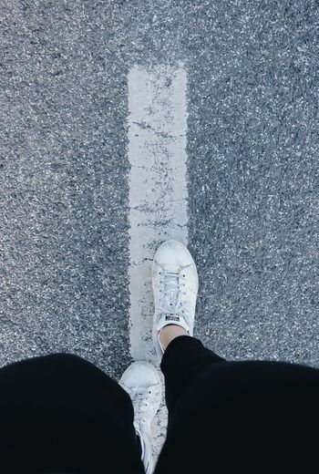 Low Section Human Leg Shoe Personal Perspective Standing One Person Directly Above Human Body Part Real People Outdoors Road Day Close-up