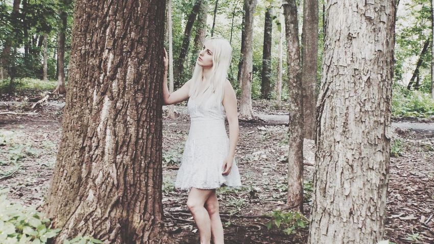 Tree Trunk Tree Dress Forest One Person Nature One Woman Only Only Women Adult Long Hair Women Whitedress Young Women Young Adult Beautiful Woman WoodLand Outdoors Me The Week On EyeEm EyeEmNewHere EyeEmNewHere The Week On EyeEm