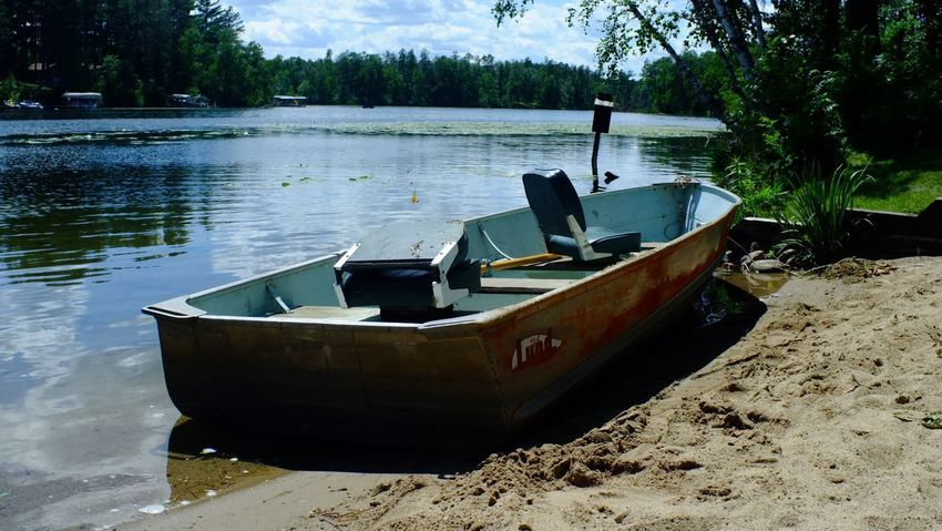 Lake Country Minnesota Beauty In Nature Boat Day Lake Mode Of Transport Moored Nature Nautical Vessel No People Outdoors Pequot Lakes Sky Tranquility Transportation Tree Water