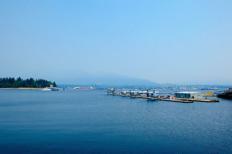 Seaplane Vancouver Architecture Beauty In Nature Blue Boat Canada Clear Sky Day Harbor Mode Of Transport Moored Nature Nautical Vessel No People Outdoors Sailing Scenics Sea Sky Tranquil Scene Tranquility Transportation Water Waterfront