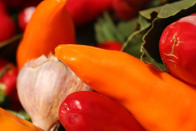 Close-up of red chili peppers and garlic