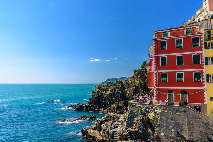 Architecture Beauty In Nature Blue Building Exterior Built Structure Cinque Terre Clear Sky Day Horizon Over Water Liguria National Park Nature No People Outdoors Red Rock - Object Scenics Sea Sky Tranquility Water