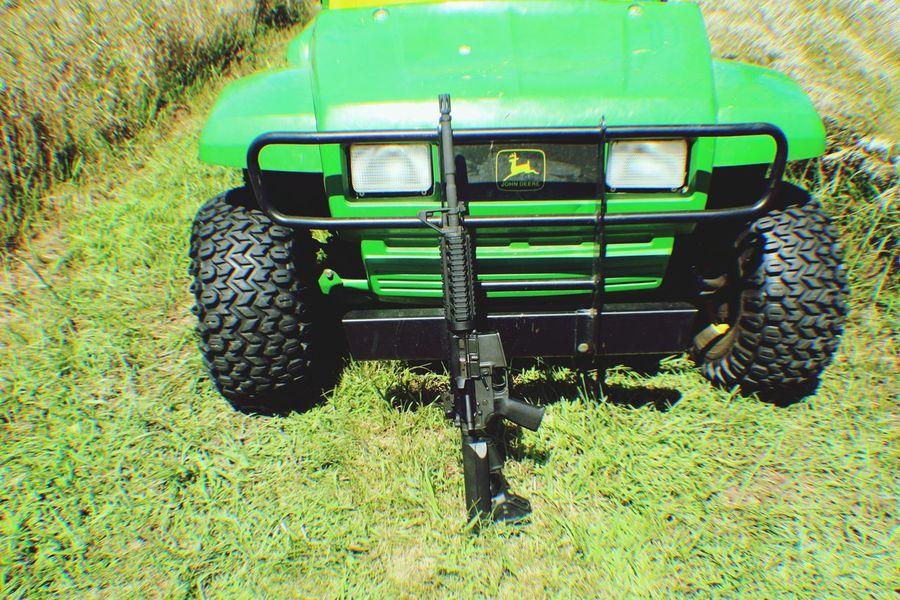 M16 Machine Gun Farm Life Green Color Grass Rifle Automtic Weapon Gun Pasture Hunting John Deere Prarie Dogs Prarie Ar15 AR15accessories Guns Colt
