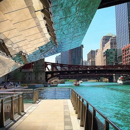 Water Reflections Colors Riverwalk Chicago River City Life