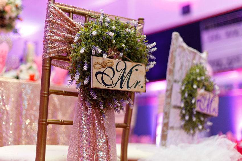 """""""Mr. & Mrs."""" Wedding Bride and Groom Signs at Reception Mr And Mrs Sign Reception Wedding Decoration Ceremony Celebration Indoors  Objects Bride And Groom"""