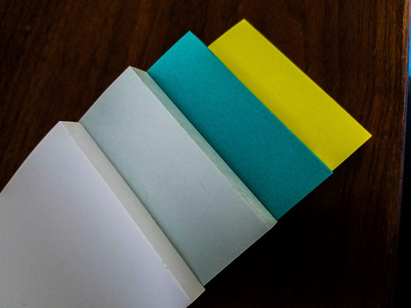 Multi Colored No People Indoors  Close-up Day Ideas Spring Colors Assorted Papers Assortment Paper Note Papers Layered Creative Design Abstract Post-It Note Wood Material Table Wood New Teal Green Green Color Sticky Notes Postitnotes