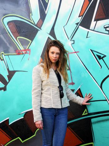 Grafitti shoot Cardiff Graffiti Grafitti Wall Photoshoot Colourful Outdoors Grafitti Art. Model Girl Wales
