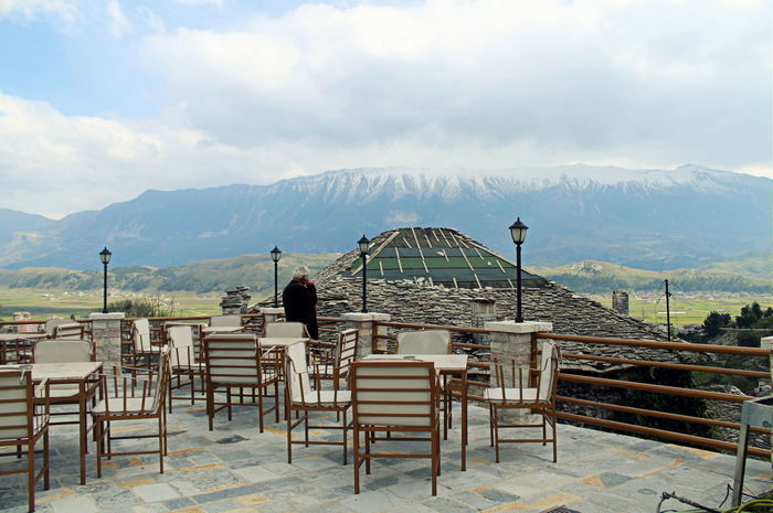 Albania Ancient City Ancient Civilization Architecture Beautiful Albania Bench Building Exterior Built Structure Cloud Gjirokaster Lifestyles Mountain Mountain Range Nature Scenics Sky Tranquility Unesco Unesco Welkulturerbe UNESCO World Heritage Site