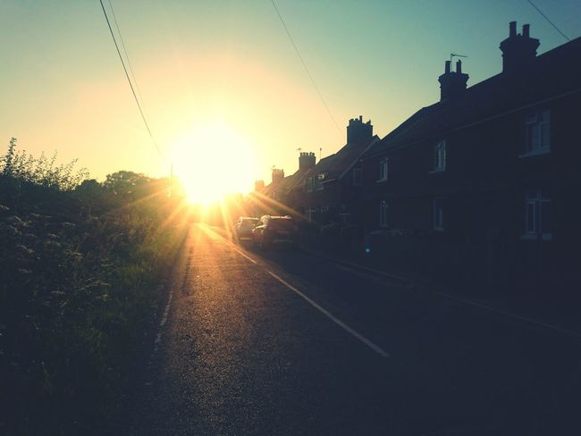 Country road village sunset field sun cottage road Outdoors Day summer season seasonal Low Angle View Sky No People Sunset Sunrise