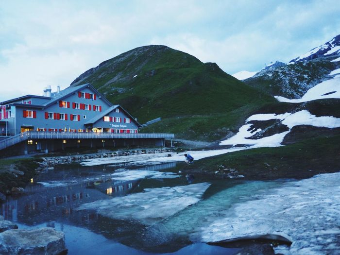 Hidden Gems  Alps Mountain Outdoors Nature Beatiful Nature Beauty In Nature Mood Dusk First Snow Wanderlust House Tranquility Reflection Water Mountainlake Ice at Jochpass Switzerland My Year My View