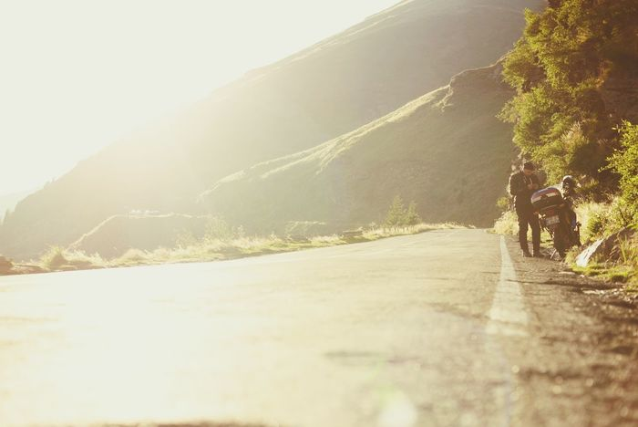 Transfagaraşan EyeEm Romania Sunset Motorcycle Sunlight Nature Mountain Plant Direction The Way Forward