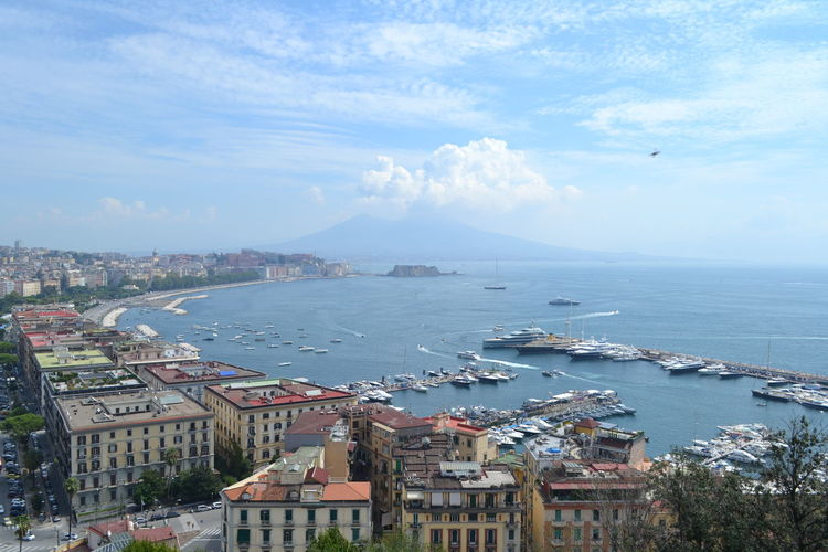 Architecture Water Building Exterior Sea Built Structure City Building Sky High Angle View Residential District Day Cloud - Sky Nature No People Nautical Vessel Cityscape Transportation Outdoors Harbor Sailboat TOWNSCAPE Cruise Ship Naples Place To Visit Vesuvio