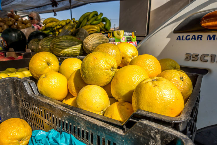 Roquetas De Mar SPAIN Almería Market Street Market Spanish Market Food And Drink Healthy Eating Food Citrus Fruit Fruit For Sale Freshness Yellow Wellbeing Market Stall Lemon Orange Orange - Fruit Retail  Large Group Of Objects Basket No People Retail Display Ripe