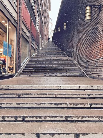 Building Exterior The Way Forward Built Structure Architecture Outdoors Steps Day No People City Steps And Staircases Staircase Stockholm Stockholm, Sweden Shotoniphone7 Streetphotography Street Photography Low Angle View One Person Snowing Snow Flakes