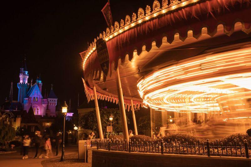 Merry-go-round Illuminated Night Carousel Building Exterior Merrygoround Disneyland Disney HongKong Photography Nightphotography Night View Castle