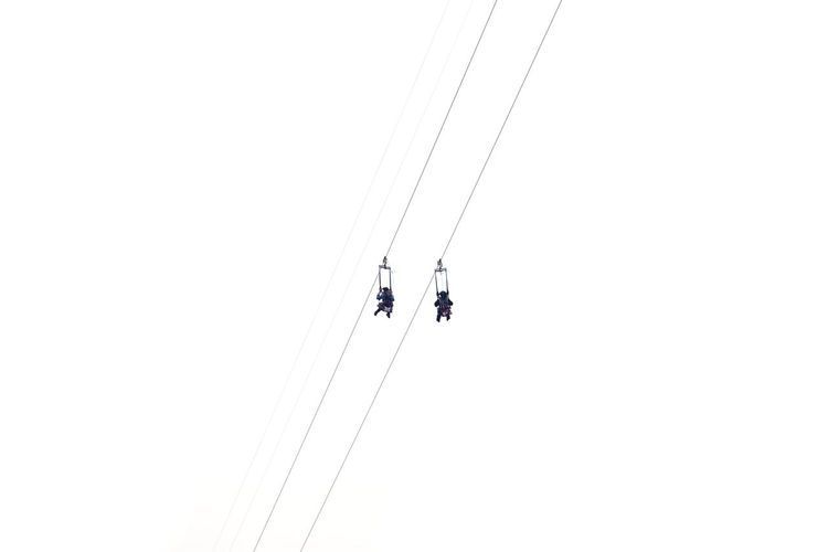 Low Angle View Of People Zip Lining Against Clear Sky