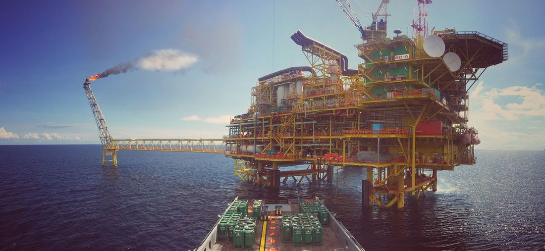 Offshore Platform Seascape Sea And Sky Sea Oilfield Oil And Gas Yellow Blue Sky Blue