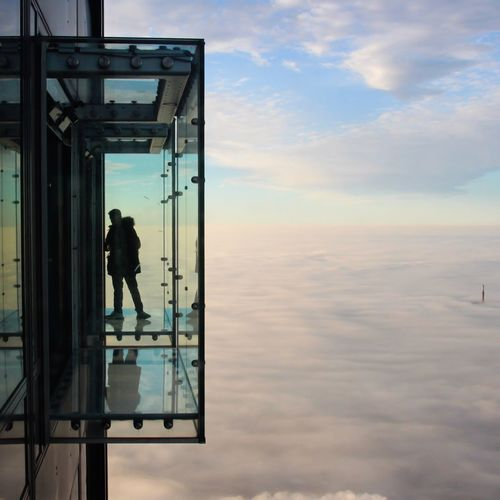 Up in the clouds Chicago Man Silhouette Real People Cloud - Sky Sky One Person Men Built Structure Full Length Architecture Outdoors Reflection Standing Lifestyles Day Beauty In Nature Scenics - Nature Glass Glass - Material Architecture Architectural Column Architecture_collection Architectural Feature Urban Skyline Urban City Life City Cityscape