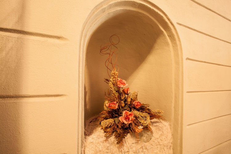 Flowers In Niche Of Historic Building Wall