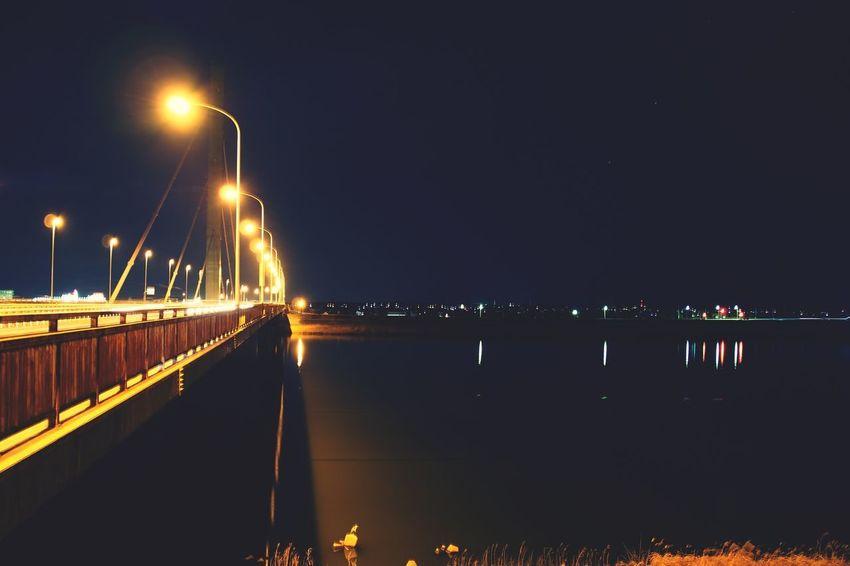 Night Bridge - Man Made Structure Illuminated Suspension Bridge Long Exposure No People Built Structure Water