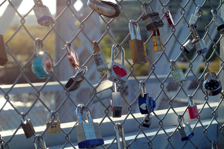 Barrier Boundary Chainlink Fence Close-up Day Emotion Fence Focus On Foreground Hanging Lock Love Metal Nature No People Outdoors Padlock Positive Emotion Protection Safety Security