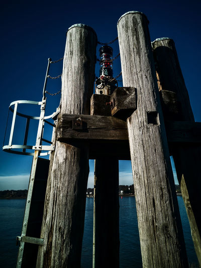 position light Handyphoto Position Light Elbe River Wood Wooden Stake Wooden Piles Ladder Water Hamburg Harbor Finkenwerder Gorch-fock-park Huawei Mate 20 Pro Architecture Wood - Material Sky Nature Low Angle View Built Structure No People Wooden Post Blue Day Post Old Architectural Column Outdoors Clear Sky Sea History Obsolete