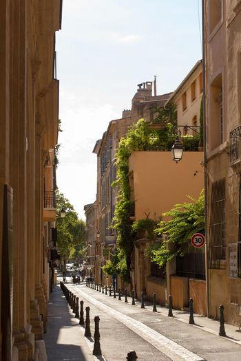 Street in city against sky