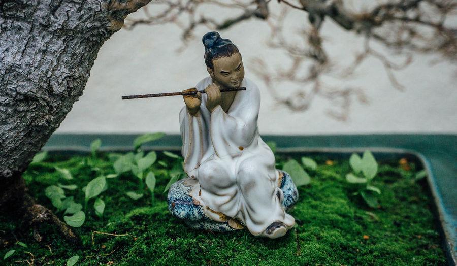 Ancient Art Bonsai Chinese Clay Figurine  Netsuke Planting