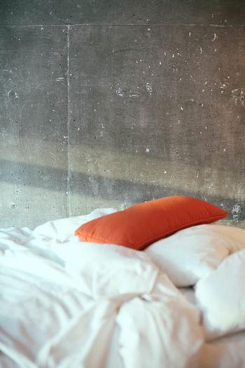 Modern Modern House Bed Cement Concrete Concrete Wall Indoors  Modern Interior No People Orange Light Orange Pillow