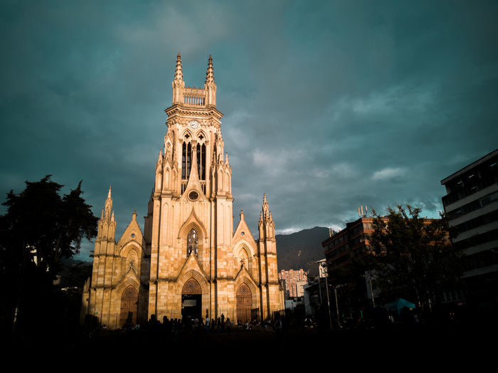 a church at the plaza Lourdes in Chapinero Bogota Colombia Building Exterior Built Structure Architecture Sky Cloud - Sky Belief Spirituality Religion Place Of Worship Building Nature Low Angle View Travel Destinations Travel History No People The Past Outdoors Gothic Style Spire  Church Church Architecture Christian Christianity Chapinero Centro Architecture