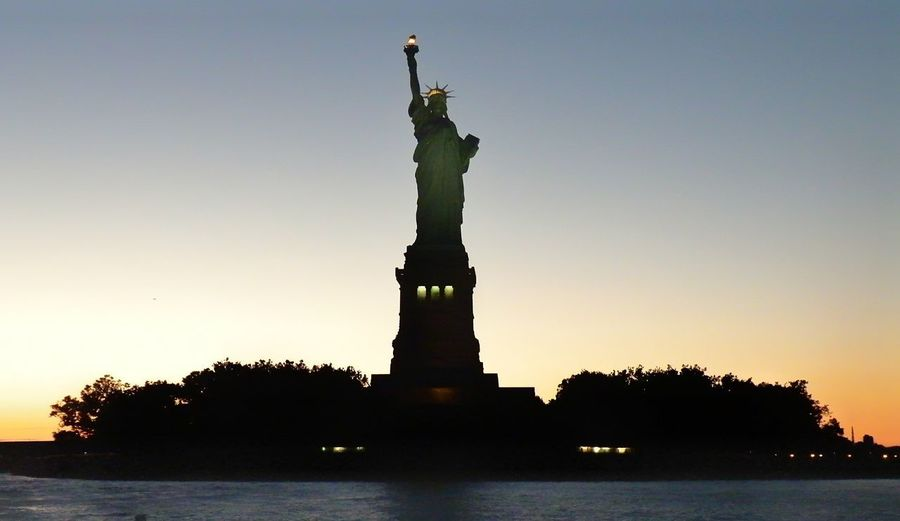 New York New York City Liberty Statue Statue Sculpture Water City Sunset Silhouette Sky Architecture Monument National Icon National Monument