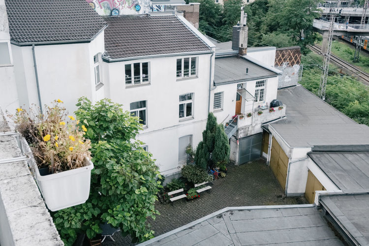 High angle view of potted plants outside house