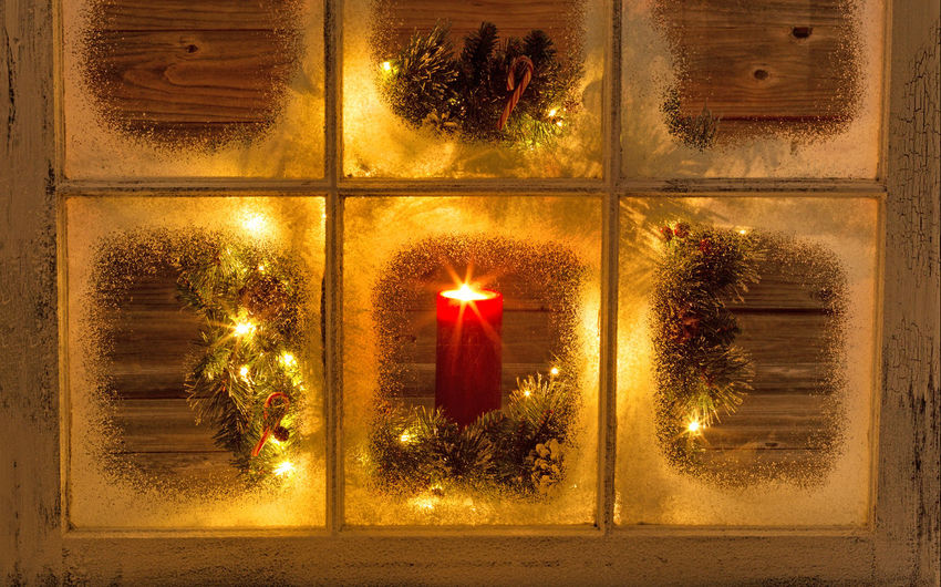 Winter night with Xmas Candle Burning Christmas Close-up Flame Gold Colored Heat - Temperature Holiday Illuminated Indoors  Lighting Equipment Night No People Red Window Winter