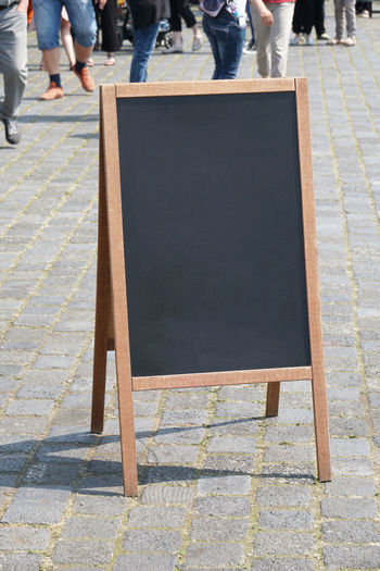 Advertising Copy Space Unrecognizable People Blackboard  Blank Board City Crowd Customer Stopper Day Empty Footpath Mock Up Pedestrian Real People Sandwich Board Sidewalk Street