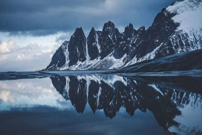 Senja Reflections. Norway Sky Water Cloud - Sky Reflection Beauty In Nature Nature Scenics - Nature Sea Tranquil Scene Tranquility Cold Temperature Snow Winter No People Mountain Waterfront Snowcapped Mountain