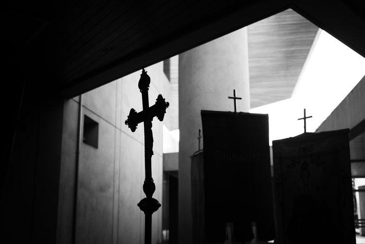 Low angle view of crosses at church