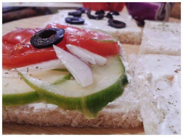 Greek salad sandwiches. Greek Salad Sandwich Fusion Food Pan Carré Tramezzini Food Preparation Smartphone Photography Mobilephotography S3 Mini Cucumber Original Recipe Yummy Gnam Gnam SLICE Red Close-up Food And Drink