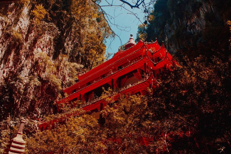 EyeEmNewHere Red Autumn Tree Change Religion Leaf Architecture Place Of Worship Built Structure Nature No People Day Travel Destinations Spirituality Maple Leaf Outdoors Building Exterior Branch Beauty In Nature Sky
