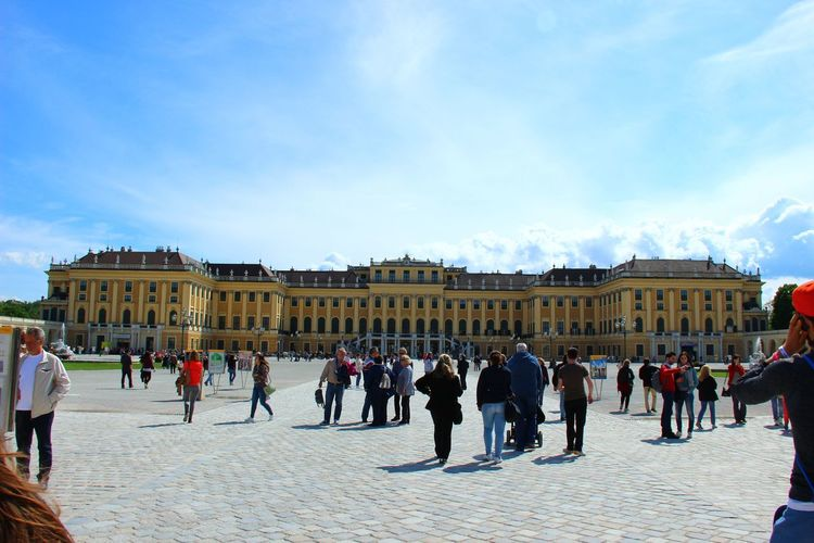 Tourists In Front Of Schonbrunn Palace