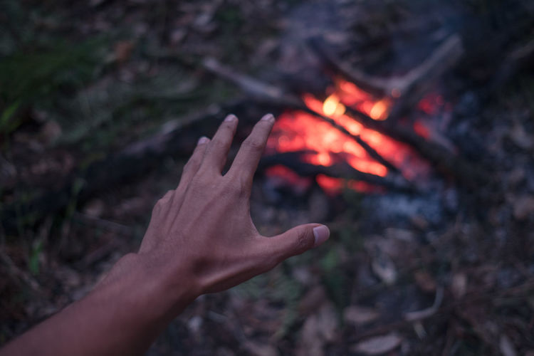 The adult man warms hands around the campfire in forest. Abstract Human Foot Human Limb Campfire Outdoors Focus On Foreground Lifestyles Finger Bonfire Leisure Activity Human Finger Wood Personal Perspective Body Part One Person Real People Nature Hand Fire Fire - Natural Phenomenon Burning Flame Human Body Part Heat - Temperature Human Hand