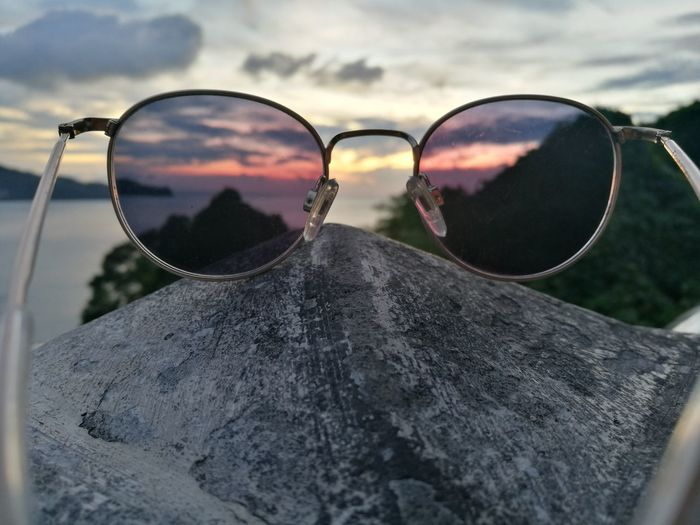 Sunset Sunglasses Eyewear Outdoors Close-up Perspectives