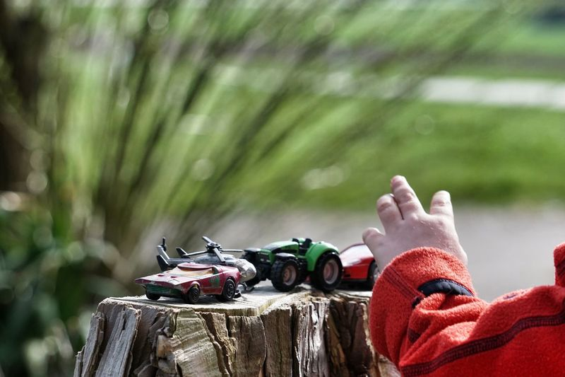 Cropped hand by toys on tree stump