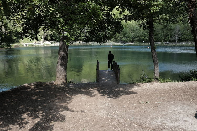 Rear view of silhouette man standing on pier by trees at lago sinizzo lake
