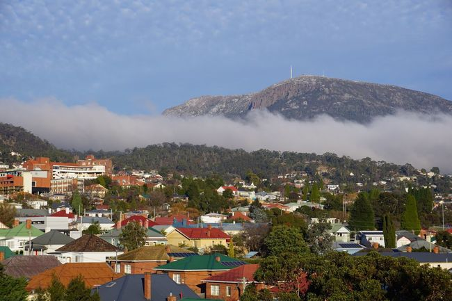 Mount Wellington, Hobart, Tasmania, Australia Mountain Architecture Building Exterior Built Structure Sky House High Angle View Mountain Range Outdoors No People Town Day Residential Building Tree Roof Cloud - Sky Scenics Nature Beauty In Nature Cityscape Hobart Tasmania