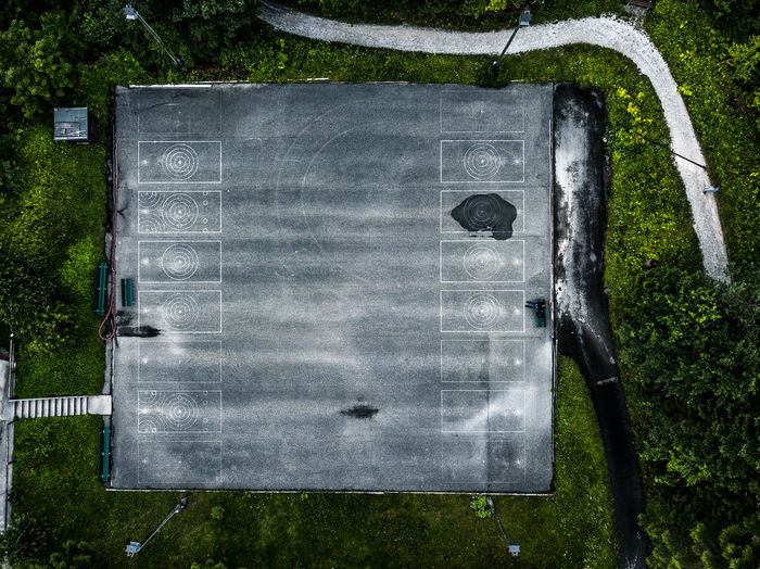Sport court at Grainau, Zugspitz area, Top of Germany, with lost person Lost In The Landscape Road Day Directly Above Grass Outdoors People Summer Tarmac World From Above Worldfromabove