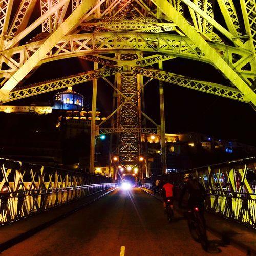 Cycling Cyclist Porto Bridge Ribeira Ponte Dom Luis Night Architecture Gustave Eiffel Portugal