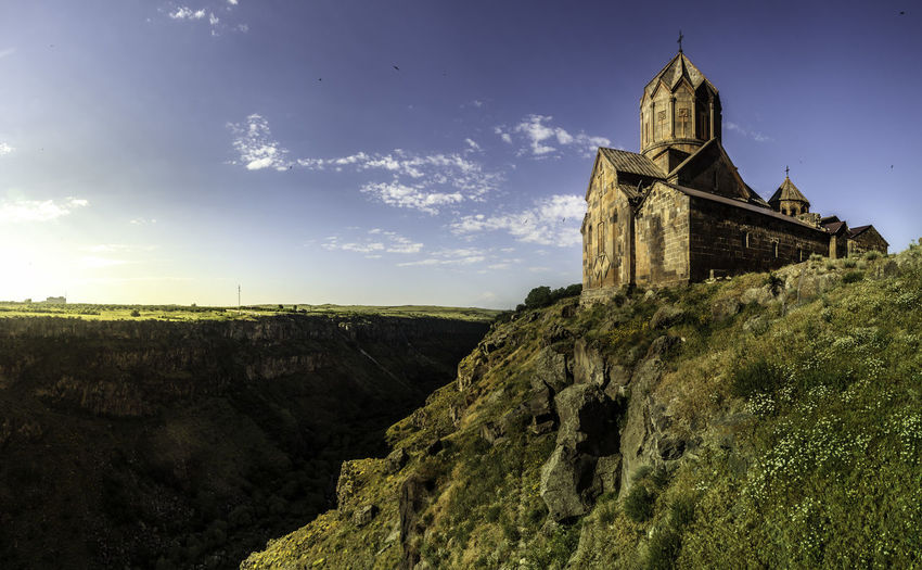 Hovhannavank Monastery Armenia Church Hovhannavank Hovhannavank Monastery ( Howhannawank Monastery Monastery Of Stone Architecture Bell Tower Canyon Day History Low Angle View Nature No People Outdoors Religion Sky Spirituality Travel Destinations