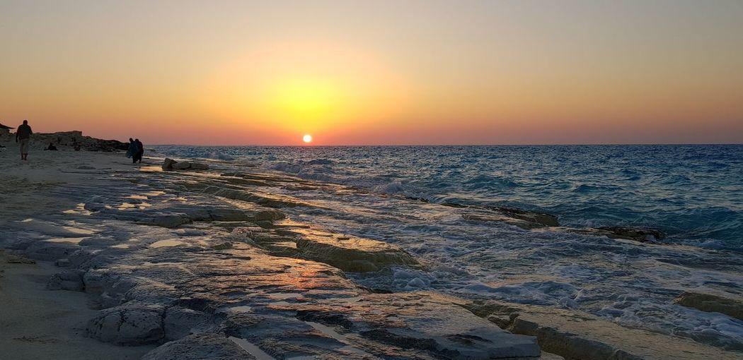 North coast, Alexandria, Egypt Water Sea Sunset Beach Low Tide Wave Sunlight Horizon Sun Sand